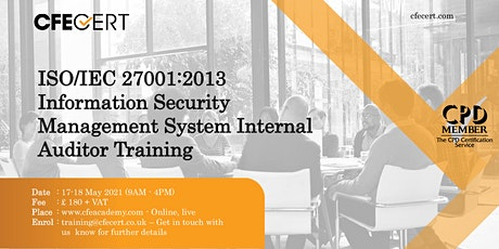 ISO/IEC 27001:2013 ISMS Internal Auditor Training tickets