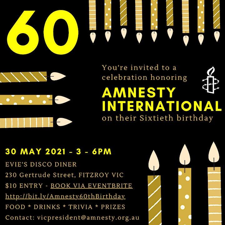 Amnesty International Australia's 60th Birthday image