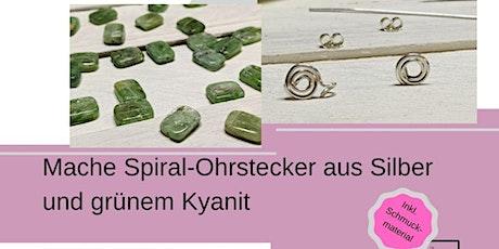 Ohrstecker Silber-Spirale mit grünem Kynanit - im Online-Schmuckkurs Tickets
