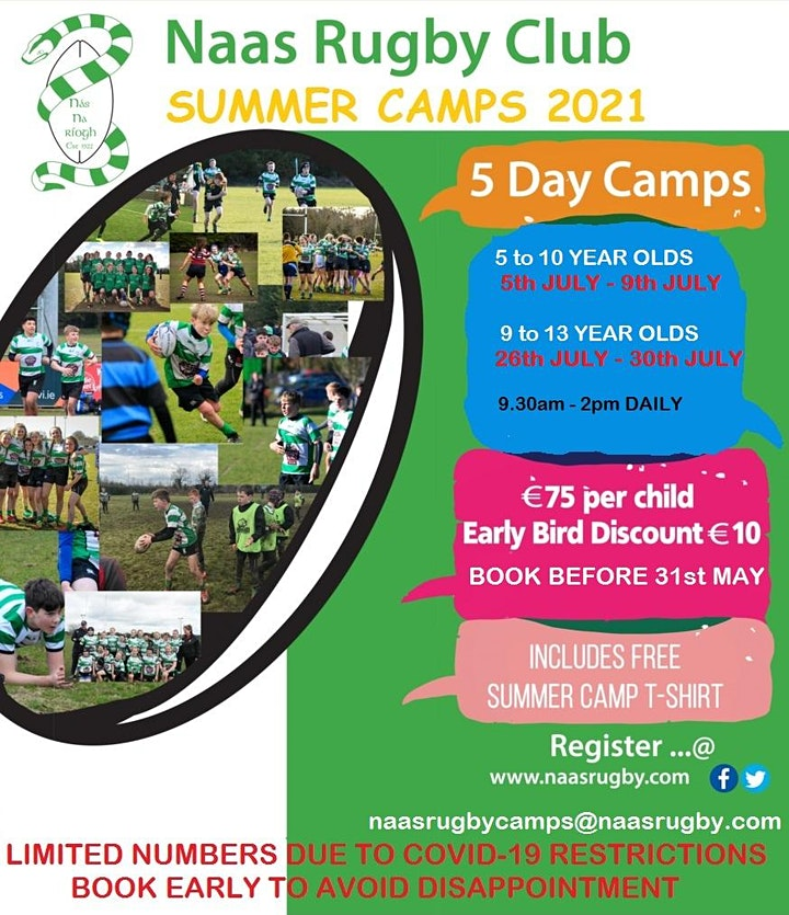 Naas RFC Summer Camp - 9 - 13 yr Olds  26/07/21 - 30/07/21 image
