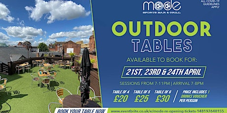 Mode Outdoor Booking Wed 21st April tickets