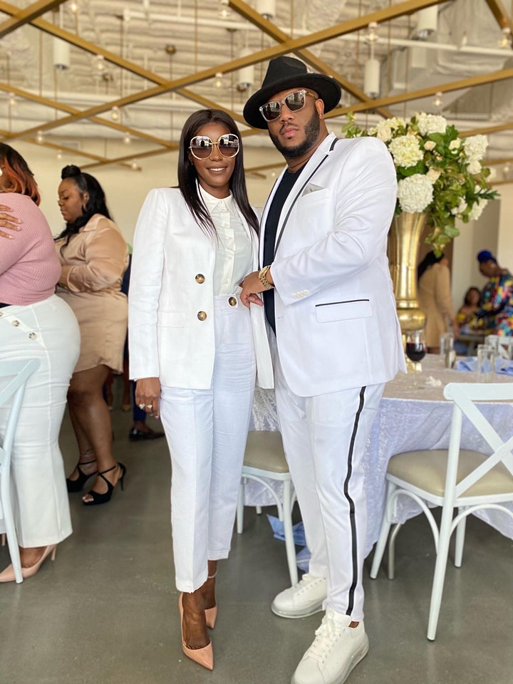 """""""The Blue on the River"""" all white affair image"""