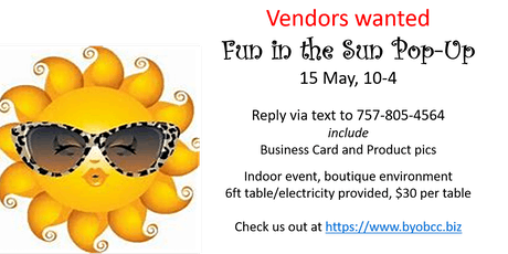 "Call for Vendors:  ""Fun in the Sun"" themed Pop-Up tickets"