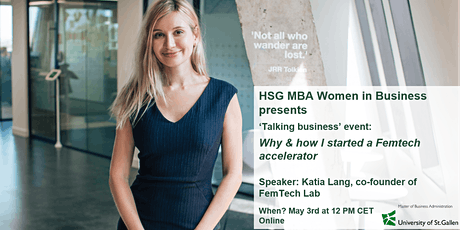 'Talking business' event: Why & how I started a FemTech accelerator tickets