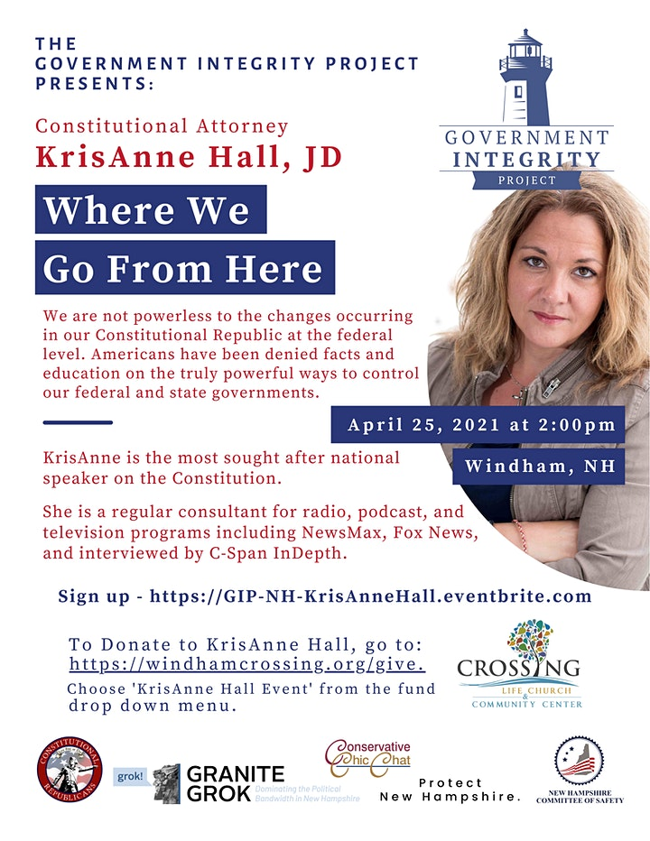 """Seminar With Constitutional Attorney KrisAnne Hall: """"Where We Go From Here"""" image"""