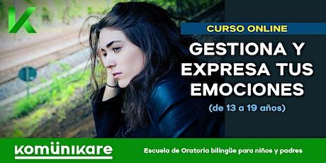 """Curso online """"Gestiona y expresa tus emociones"""" para adolescentes (13-19) entradas"""