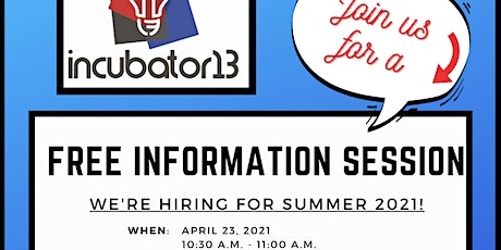 Info Session - Incubator 13 - Internships tickets