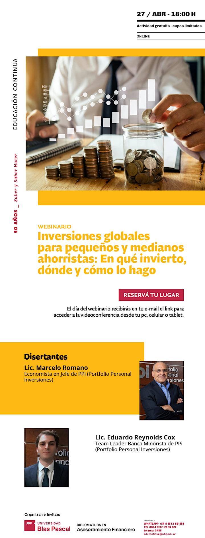 Imagen de Webinario> Inversiones globales para pequeños y medianos ahorristas