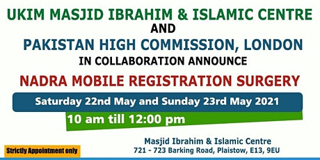 Saturday 22-05-21 Masjid Ibrahim NICOP Mobile Surgery Appointment Booking tickets