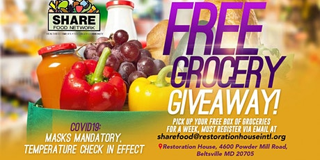Restoration House Intl. Presents: Free Food Giveaway tickets