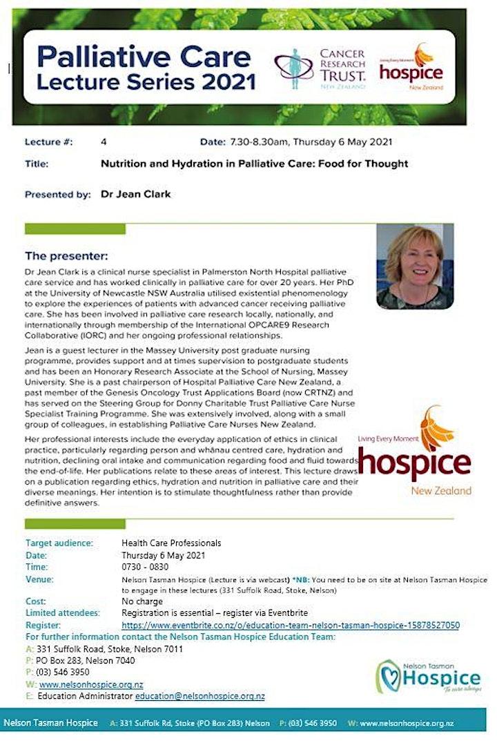 Palliative Care Lecture #4 -  Nutrition & Hydration in Palliative Care image