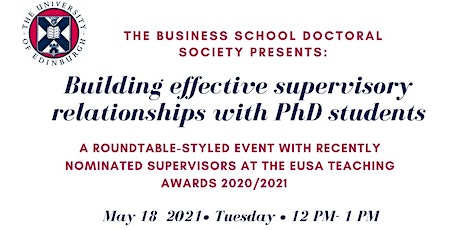Building effective supervisory relationships with PhD students tickets