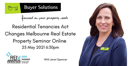 Residential Tenancies Act Changes  Melbourne Property Mgmt 25/5/21 6:30pm tickets