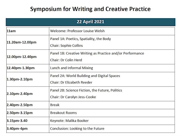 Symposium on Writing and Creative Practice at the University of Glasgow image