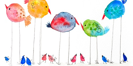 Watercolour Party - cheerful birds painting half term tickets