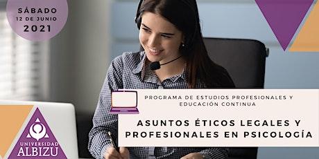 Asuntos Éticos Legales y Profesionales en Psicología boletos
