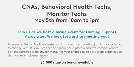CNA, Behavioral Health Tech, Monitor Tech Hiring Event - 5/5 tickets