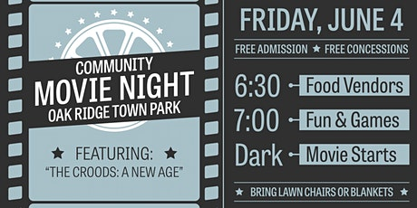 """FREE Community Movie Night: Featuring """"The Croods: A New Age"""" tickets"""