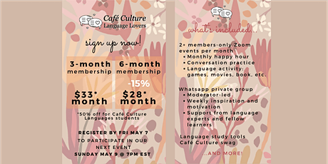 Café Culture: Language Lovers  Membership - May tickets