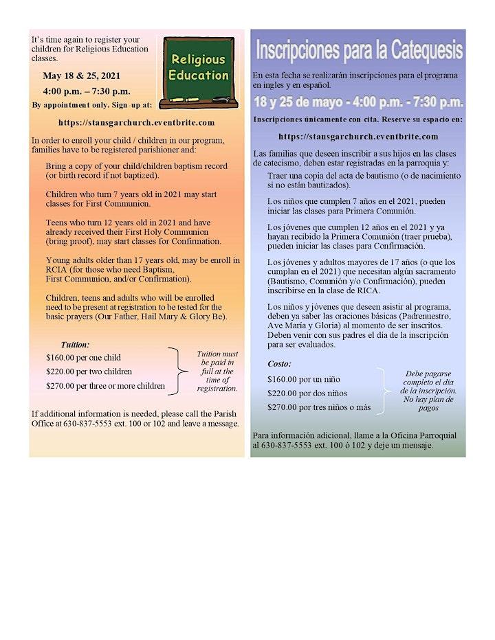 Registrations for Religious Ed (Inscripciónes para Catecismo) image