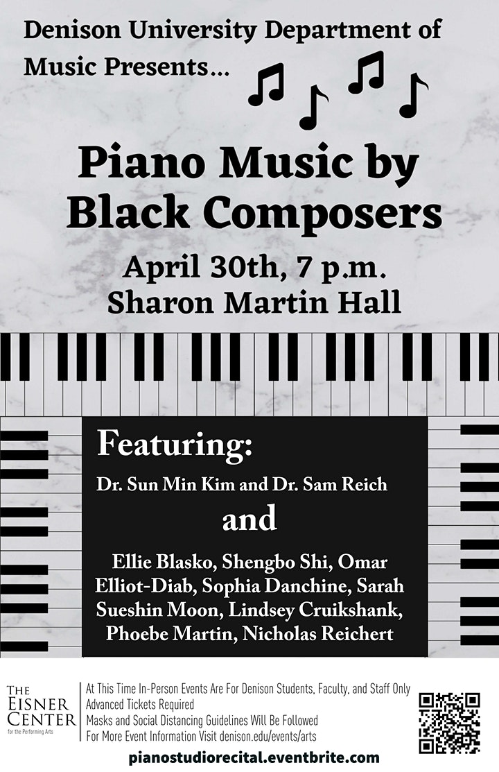 Piano Music by Black Composers, presented by Denison Piano Studio image