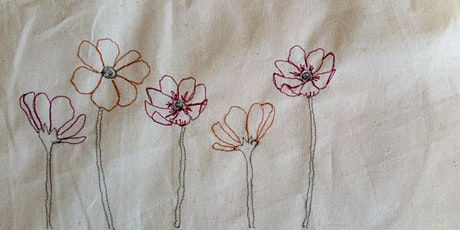 Free Machine Embroidery Flowers  Textile Workshop tickets