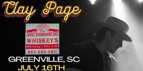 Clay Page @ Whiskey's in Greenville, SC tickets