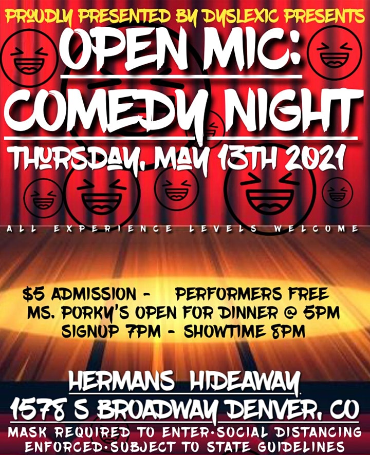 OPEN MIC (COMEDY NIGHT)   OPEN SIGN UP   ALL EXP. LEVELS image