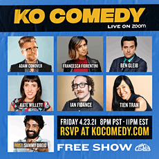 KO Comedy Live on Zoom: Friday, April 23rd, 2021 tickets