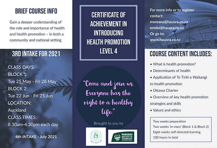 Certificate of Achievement in Introducing Health Promotion - Auckland image