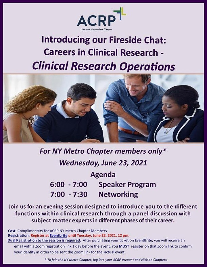 Fireside Chat: Careers in Clinical Research - Clinical Research Operations image
