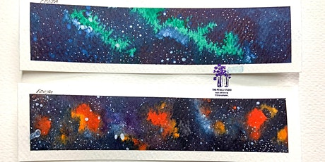 Watercolour Galaxy, Norther Lights, Night Sky Painting Bookmarks tickets