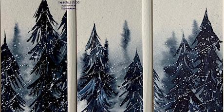 Watercolour Misty Snowy Forest Painting Bookmarks tickets
