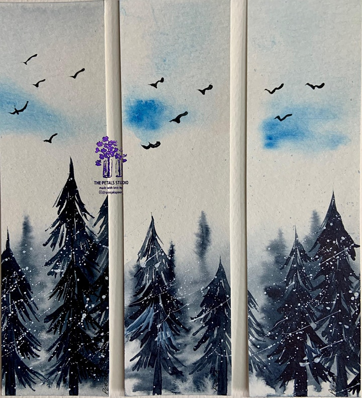 Watercolour Misty Snowy Forest Painting Bookmarks image