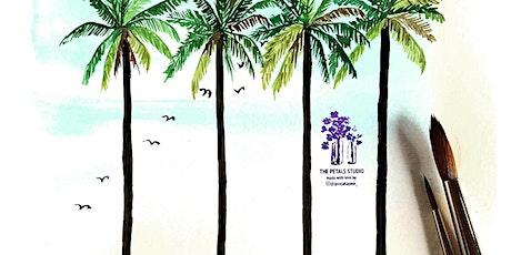 Watercolour Landscape Painting Workshop-  Palm Tree, Calming Sea & Birds tickets