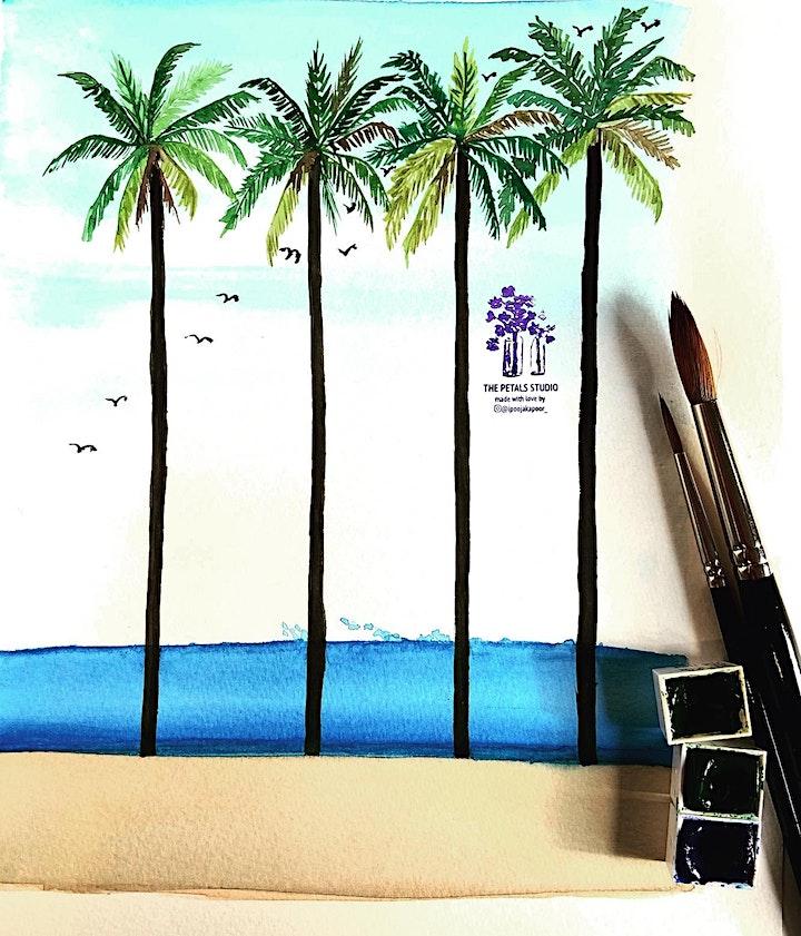 Watercolour Landscape Painting Workshop-  Palm Tree, Calming Sea & Birds image