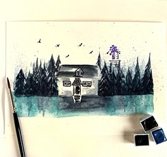 Watercolour Mystical Landscape Cottage by the Lake Workshop tickets