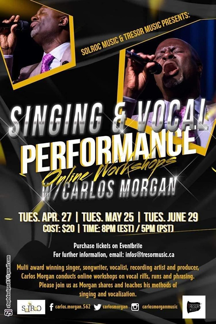 """Singing & Vocal Performance Online Workshops"" w/ Carlos Morgan image"
