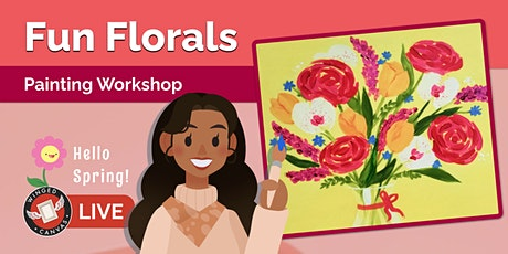 Acrylic Painting Workshop - Step by Step Lesson for Kids (Fun Florals) tickets