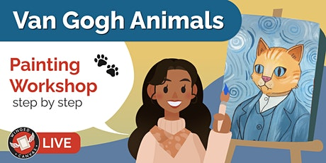 Acrylic Painting Workshop - Step by Step Lesson for Kids (Van Gogh Animals) tickets