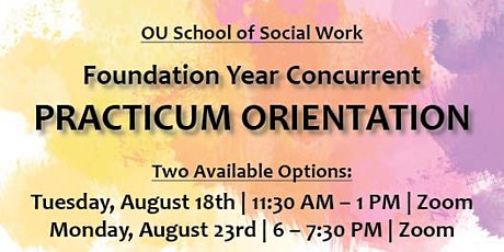 2021 Foundation Year Concurrent Practicum Orientation tickets
