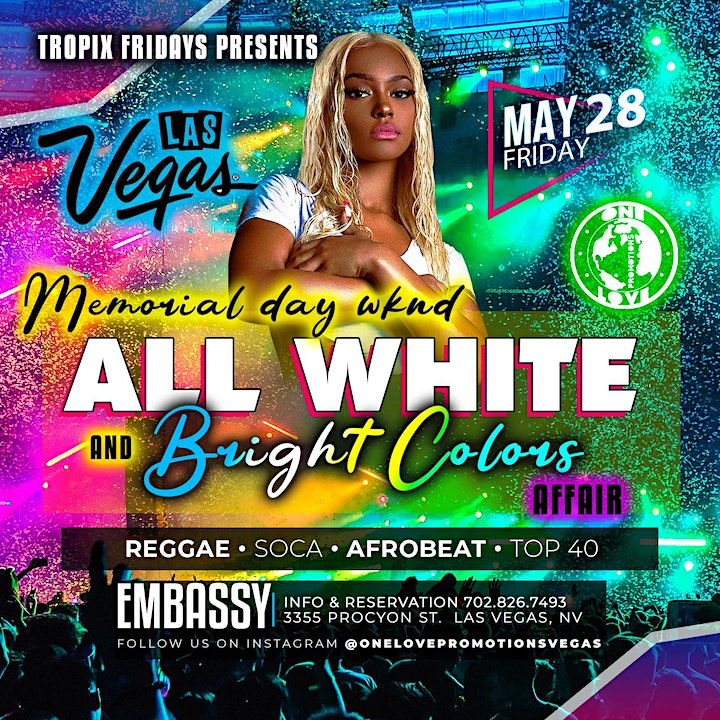 All White and Bright Colors REGGAE AND AFROBEAT Memorial Weekend PARTY image