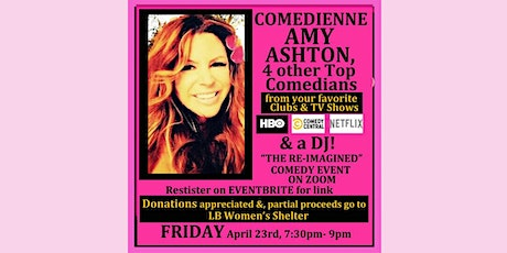 Amy Ashton Comedy Show, 4 comedians & DJ on Zoom @ COMEDY RE-IMAGINED Event tickets