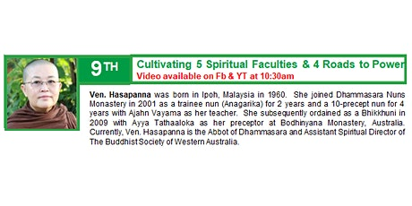 9 May Sunday Service:  Talk by Ven. Hasapanna tickets