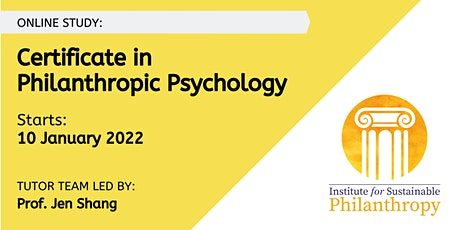 Certificate in Philanthropic Psychology -  10 January 2022 tickets
