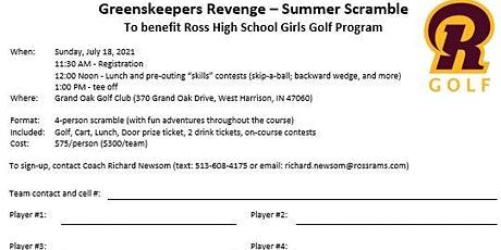 Greenskeepers Revenge Scramble tickets