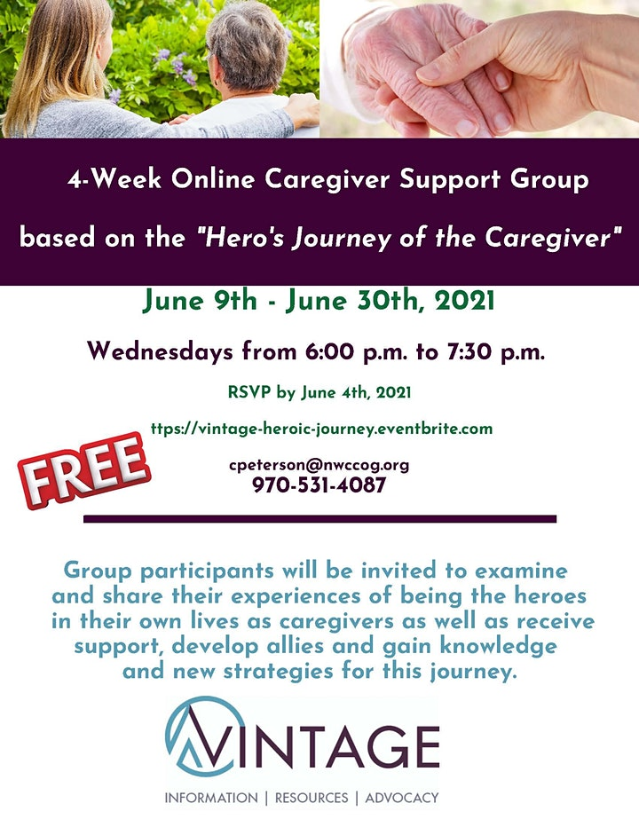 """Caregiver Support Group based on """"Hero's Journey of the Caregiver"""" image"""