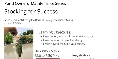 Pond Owner Maintenance Series:  Stocking for Success tickets