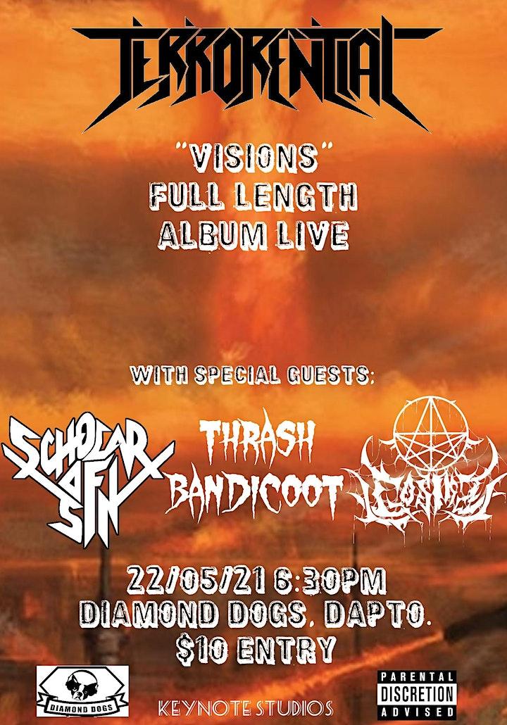 "Terrorential ""VISIONS"" Live  + Thrash Bandicoot + Scholars of Sin + Gosika image"