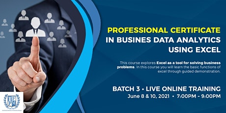 3rd Professional Certificate in Business Data Analytics using Excel tickets